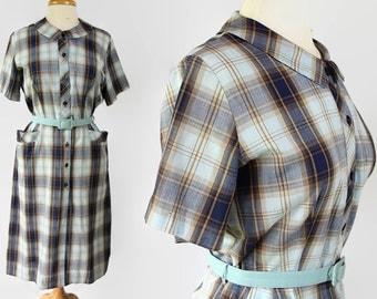 50s 60s Lynda Lou, Plus Size Dress, Plaid, Rockabilly, Housewife
