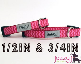 Hot Pink and Red Ric Rac Dog Collar