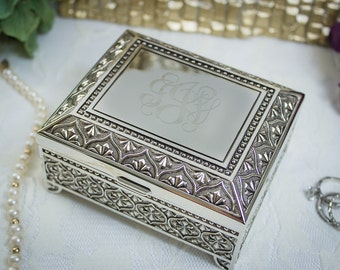 Square Antiqued Jewelry Box