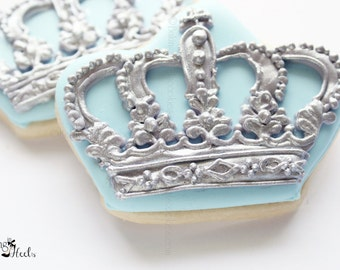 Little Prince Baby Shower Crown Cookies, Royal Crown, Prince Cookies, 1st Birthday,  Gold Cookies, Royalty, It's a boy, Baby Shower Favors