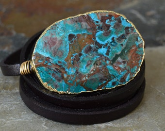 Ocean Jasper leather wrap