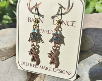 Browning Earrings,Browning Jewelry,Handmade Browning Deer Buck Earrings,Copper Earrings,Unique Gift,Country Girl,Natural Wood,made In USA