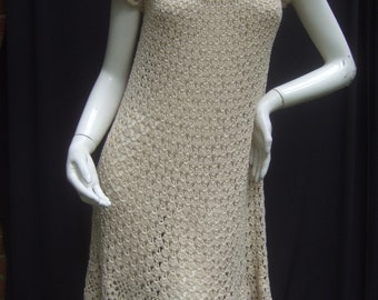Crochet Hand Knit Ivory Dress c 1970s