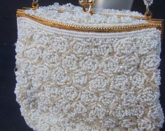 Elaborate Glass Beaded Seed Pearl Handbag c 1970