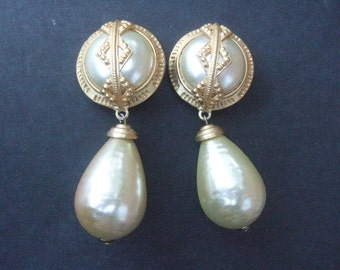 Large Dangling Enamel Faux Pearl clip on Earrings c 1980s
