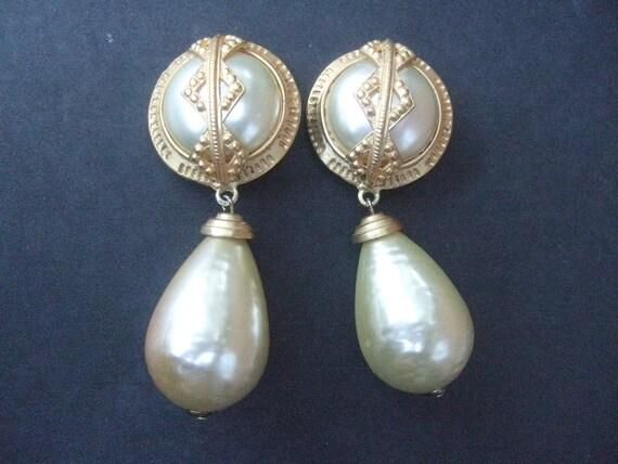 Large Dangling Enamel Faux Pearl Clip On Earrings C 1980s