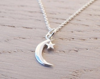 Tiny Silver Moon & Star Necklace - Sterling Silver