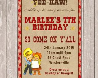 Vintage Cowboy Cowgirl Personalised Birthday Invitation - YOU PRINT