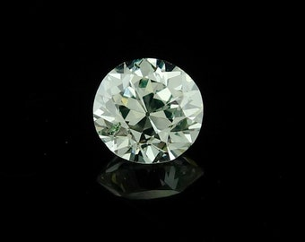 0.63 Carat Natural Light Green Diamond Round Old European Brilliant Cut GIA Certified