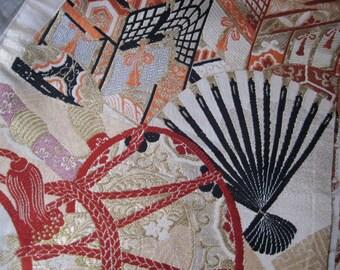 Vintage Japanese Brocade Obi Fan Fabric