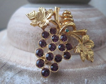 Vintage LIA Grape Bunch Cluster Rhinestone Brooch