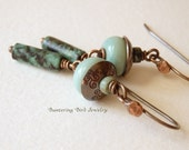 African Turquoise Earrings, Jasper Dangle Earrings, Mint Green Lampwork Glass Beads with Hand Stamped Copper Caps, Artisan Copper Jewelry