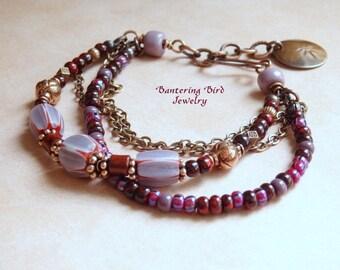 Boho Beaded Bracelet, Purple Multi Strand, Glass Chevron Beads and Vintage Murano Glass, Copper Ethnic Jewelry