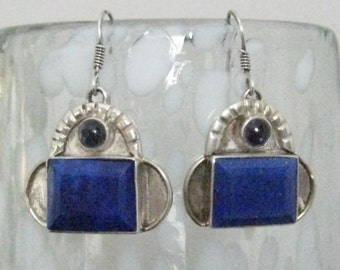 SALE Lapis & Sterling Silver Drop Earrings with Bezel Set Large Rectangular Lapis Lazuli and Small Amethyst Purple Cabochon.