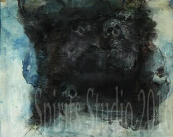 "Original art brut neo expressionist Mixed Media Small Drawing- ""Headdress"""