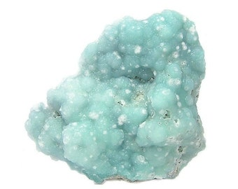 Smithsonite Blue Crystalline Botryoidal with white calcite Display Collector Specimen  for your rock and mineral collection, Mined in Mexico