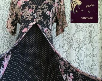 90s Long Romantic Cottage Floral Dress - Languid Floral Dress - Flowers Polkadots - Calico Dress - Tie Back - Festival Fashion - Size Medium