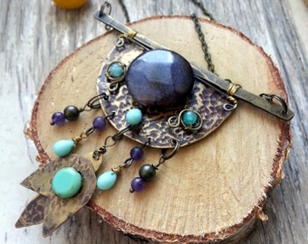 Wire Wrapped Bohemian Brass Necklace - Long Tribal  Necklace - Boho Bohemian Jewelry - Gypsy necklace - Flower Blue turquoise mint tulip