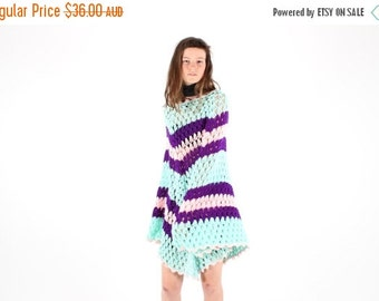 10,000 LIKES 7 Day Sale Pastel Rainbow Knit Crochet Kaftan Poncho, Super Long + Free Size
