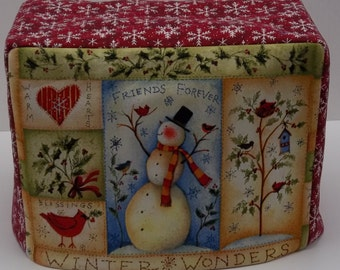 Two Slice Toaster Cover, Snowman Toaster Cover,  Winter Toaster Cover, Red Holiday Toaster Cover