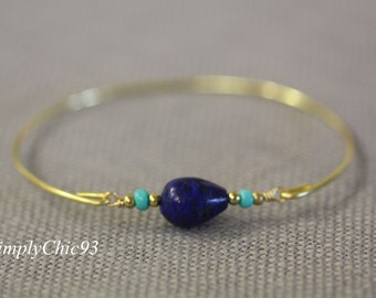 lapis lazuli Bangle Bracelet,Turquoise Bracelet, Gold bangle, gold bracelet, Tribal Jewelry,Bohemian, Beach
