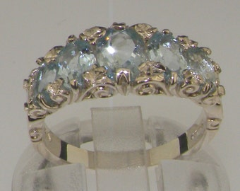 Solid 10K White Gold Aquamarine Five Stone Ring, Engagement Ring, English Victorian Style Half Eternity Ring - Customizable