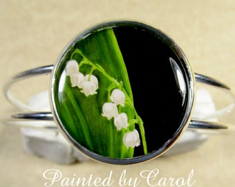 Lily of the Valley Bracelet  -  White Lily-of-the-Valley, May Birth Flower, Floral Cuff Bracelet