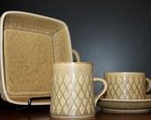 Jens Quistgaard Relief Dishes Serving Bowl Danish Modern Tea Cups Coffee Mugs Mid Century Modern Dinnerware Yellow Kitchen Scandinavian