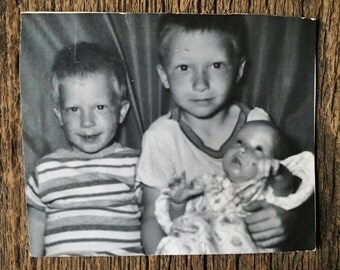 Original Vintage Photograph Big Brothers