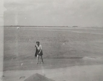 Original Vintage Photograph Beach Comber