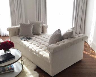 Tufted  white velvet  day bed