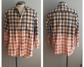 Upcycled Clothing, Dip Dyed Cream and Brown Plaid Shirt, Bleach Dyed, Reclaimed Button-up Shirt, Men's XXL #018