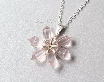 Gemstone Snowflake Necklace, Rose Quartz Step Cut Pencil Drop Briolettes, Sterling Silver Chain, Wire Wrapped Snowflake. Holiday. N228.