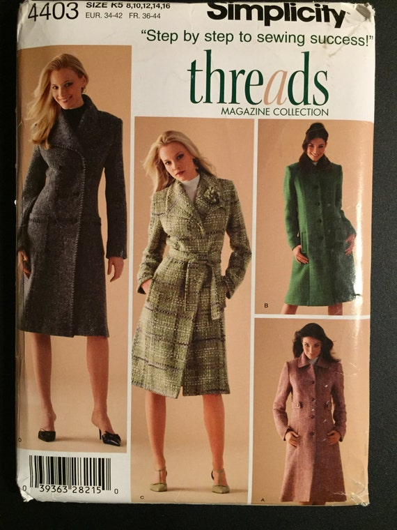 Simplicity Sewing Pattern 4403 Uncut Misses and Miss Petite Lined Coats Size 8-16 OR 16-24