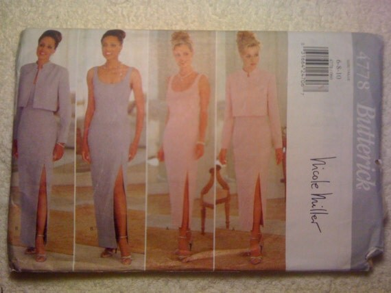 Butterick 4778 Sewing Pattern 90s UNCUT Misses Jacket and Dress by Nicole Miller Size 6-8-10
