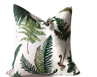 Les Fougeres Pillow, Schumacher Floral  Pillow, Decorative Throw Pillow Cover  Invisible Zipper Closure, Toss Pillow, Accent Pillow