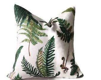 Les Fougeres Pillow, Schumacher Floral  Pillow, Decorative Throw Pillow Cover  Invisible Zipper Closure, Toss Pillow, Accent Pillow
