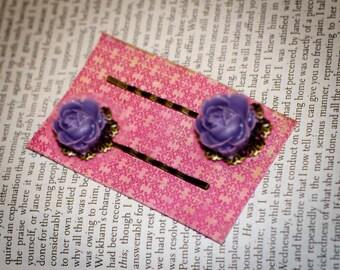 Jane Austen's Emma Inspired Lavender Roses Hairpins by Austentation