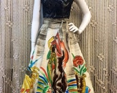 Gorgeous 1950's Mexican matador themed hand painted full circle skirt