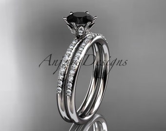 14kt white gold diamond unique engagement set, wedding ring with a Black Diamond center stone ADER145S