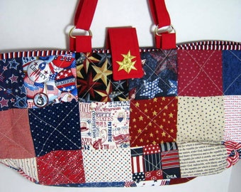 Patriotic Colors Yarn Organizer Knitting Crochet Tote, Library Book Bag