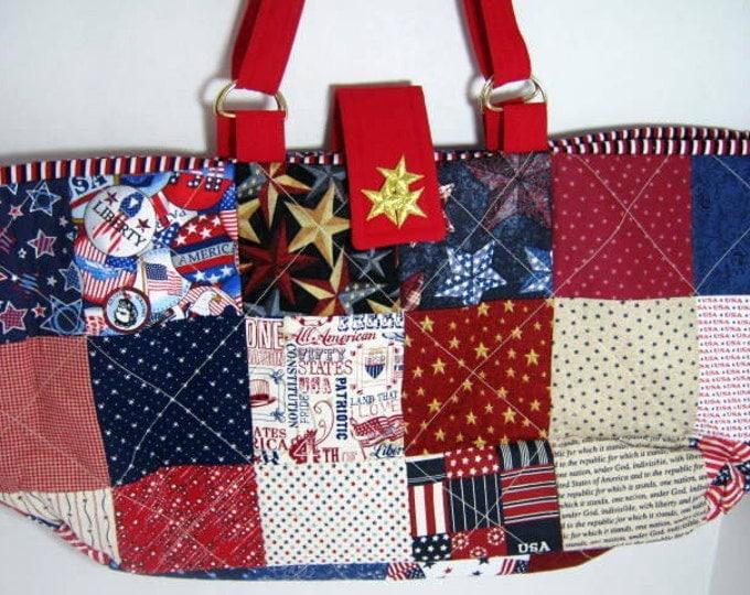 Patriotic Colors Yarn Organizer Knitting Crochet Tote, Library Book Bag