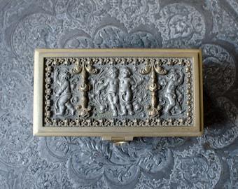 Vintage Jewelry Casket Erhard & Sohne Ornate Cherub Scroll - West Germany