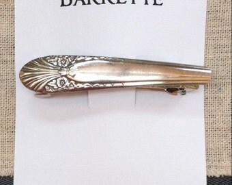 Silver Plated Silverware Barrette