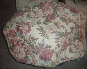 Standard Cabbage Rose Pillow Sham, French Country, Cotton, Quilted, Shabby Chic