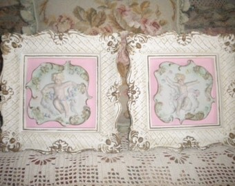 Charming Set of Chic Vintage Cherub Plaster Wall Hangings, Shabby Chic, Baby Girl's Room, French, Italian, Pink