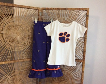 CLEMSON TWILL PANTSET..  purple twill with embroidered orange tigers, paired with appliqued paw on tank, short or long sleeves