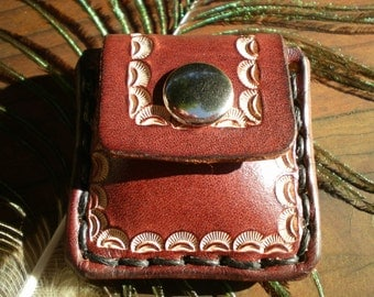 Guitar pick holder / mini pouch / tooled leather