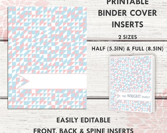 BC008 | GEOMETRIC CORAL/PINK  Printable Binder Cover |  includes 2 front/back covers | Sticker Binder | Planner Cover | Teacher Binder