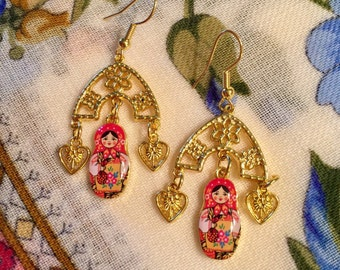 Russian Doll Earrings Nestling Doll Free Shipping